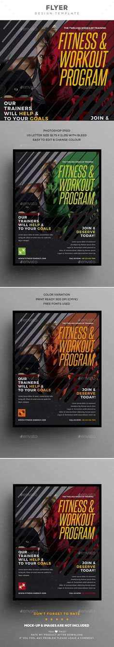 #Fitness #Flyer - Events Flyers Download here: https://graphicriver.net/item/fitness-flyer/20214824?ref=alena994