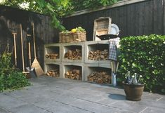 so i want my woodshed, yours elements of concrete! Also within an option./great idea for wood storage Outdoor Firewood Rack, Firewood Storage, Garden Furniture, Outdoor Furniture Sets, Outdoor Decor, Outside Living, Outdoor Living, Outdoor Projects, Dream Garden