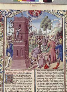Maître François (15e siècle) - Construction de la tour de Babel par Nemrod - BNF