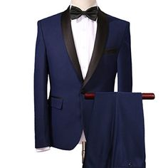 07b31ba8e8e Botong Navy Blue Wedding Suits for Men 2 Pieces Men Suits Groom Tuxedos  Navy Blue 36 chest   30 waist. YOUTHUP Men Fashion