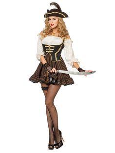 Sexy Piratin Damenkostüm Freibeuterin braun-creme-schwarz, aus unserer Kategorie Piratenkostüme. Kein Pirat kann dieser sexy Seeräuberin einen Wunsch abschlagen. Das ist auch besser so, da die hübsche Piratin sehr gut darin ist, Gliedmaßen abzuschlagen ... Ein sexy Kostüm für Karneval und Mottopartys. #Faschingskostüm #Damenkostüm