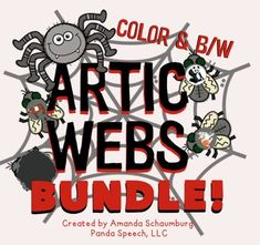 ARTIC WEBS BUNDLE  for Early and Later SoundsA fun game for articulation therapy! Your students with LOVE this! Mr. Spider is hungry! Help him catch the flies while practicing target words! This resource is a bundle of the following products.  ARTIC WEBS Early Sounds Pack ARTIC WEBS Later Sounds PackSounds Included:  Initial, Medial, & Final: p, b, m, n, t, d, k, g, f, v Initial h, y Initial, Medial w Final ng Initial, Medial, & Final: l, s, z, sh, ch, j, th mixed sblends, sp, st, sm,...