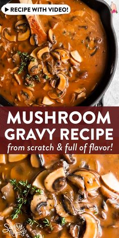 Make your own mushroom gravy with this easy and foolproof recipe! Rich and hearty, it's full of flavor and goes perfectly with recipes like hamburger steaks (to make Salisbury steak!), meatloaf or meatballs. Or serve by itself over egg noodles for a simple dinner! | #homemade #fromscratch #mushroomrecipes Easy Gravy Recipe, Meatloaf Gravy Recipe, Perfect Gravy Recipe, Steak Gravy Recipe, Hamburger Gravy Recipe, Meatloaf With Gravy, Healthy Dinner Recipes, Vegetarian Recipes, Vegetarian Gravy Recipe