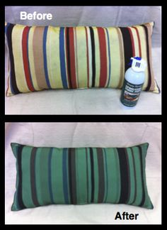 Striped pillow painted with Hunter Green Upholstery Fabric Paint! Upholstery Fabric Paint available for purchase at www.sprayitnew.com