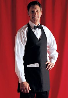 A high-class restaurant deserves a high-class apron. This V-neck tuxedo apron is the perfect finishing touch for your waiter and waitress uniforms. http://www.sharperuniforms.com/v-neck-tuxedo-aprons-with-center-divided-pocket.html