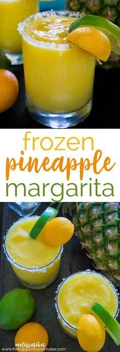 Pineapple Frozen Margaritas are the perfect cocktail when those summer days get hot-tequila, orange, pineapple and lime flavors blend perfectly into this frozen cocktail! #cocktailrecipes