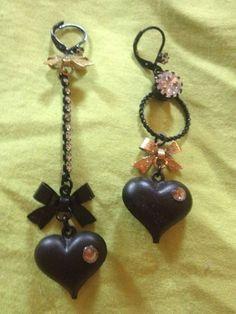 Betsy Johnson Earrings - Black Dangle Hearts #BetseyJohnson