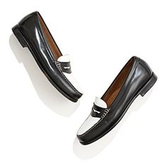 G.H. Bass® & Company Weejuns in black white, 3/4'' heel, #16905 $99 at Madewell