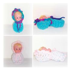 Cute Crochet Small CoCoon Doll, Baby Doll Crochet Cap Blanket CoCoon, Vintage Small Doll, Up-cycle Crochet Baby Doll Ready To Be LOVED by ICreateAndCollect on Etsy