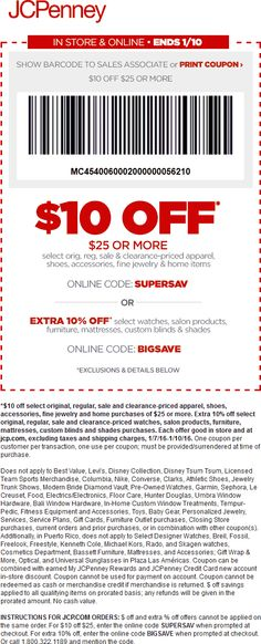 Pinned January 10th: $10 off $25 at JCPenney or online via promo code #SUPERSAV #coupon via The #Coupons App