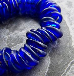 Sale-See Store Announcement-Vintage Bead-Vintage Hand Made Sand Cast Colbalt Blue Glass Trade Bead Hoop-10 Beads on Etsy, $3.95