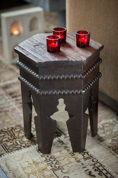 """Small Moroccan Accent Side Table Oriental Folding Curved Mango Wood 18"""" Brown"""