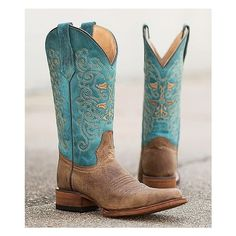 Circle G Two-Tone Square Toe Cowboy Boot ($150) ❤ liked on Polyvore featuring shoes, boots, tall cowboy boots, tall shoes, western boots, tall cowgirl boots and 2 tone boots