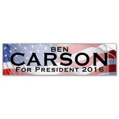 Ben Carson for President 2016 Bumper Sticker Decal #conservative #bencarson #bencarson2016 #antiobama