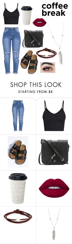 """Coffee break"" by ajklercker ❤ liked on Polyvore featuring Birkenstock, Yves Saint Laurent, Lime Crime, Lokai and H&M"
