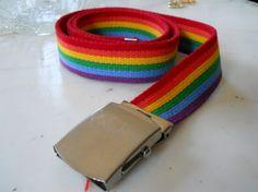 vintage belt MENS Retro 60's 70's cloth RAINBOW by luvmetwice, $12.00
