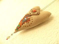 Stoffanhänger - Stoffanhänger Herz - ein Designerstück von Waschbrett bei DaWanda