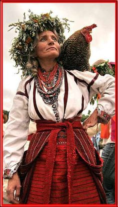 This will be me: the eccentric, fancy dresser out with her chickens in a funky hat lady. This gal is from Ukraine Ukraine, Baba Yaga, We Are The World, People Around The World, Folklore, Funky Hats, Mode Costume, World Cultures, Ethnic Fashion
