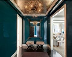 glossy teal in glam foyer