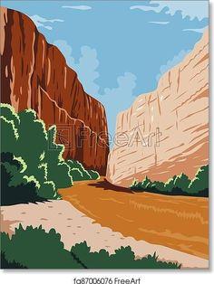 Big Bend National Park of Rio Grande R? o Bravo in Chihuahuan Desert Texas WPA Poster Art Color - Artwork - Art Print from FreeArt.com
