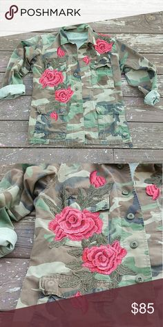 Made 2 order Camo rose jacket Custom Camoflauge Jacket with sewn on roses Upcycled  3d rose embroidery  Sizes xsmall to Xlarge  DM me for info LF Jackets & Coats Utility Jackets