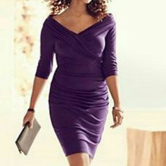 Lane Bryant body con dress (Purple) Size 14 Control tech dress. Size 14. Deep Purple. New with tags. Never worn only tried on. Small hole in seam. Original price $149.....made with spanx like material. Very supportive Lane Bryant Dresses