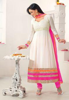 Off White Faux Georgette Anarkali Churidar Kameez @ $92.80