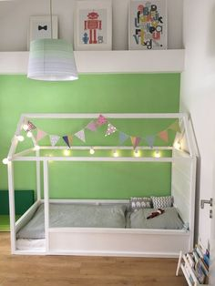 Ikea Kura Hack: Ein Kinderbett mit Dach zum selber bauen A guest post by René The Kura bed by Ikea is the classic among children's beds. The simple bed with wooden frame is not only affordable, bu Ikea Kura Hack, Ikea Hack Kids, Ikea Kura Bed, Ikea Hacks, Toddler Floor Bed, Toddler Rooms, Ikea Toddler Bed, Big Girl Rooms, Boy Room