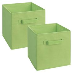 ClosetMaid Fabric Drawers 2-pk. - Green $12.99 at Target.  Start with two green and add pink/blue/yellow based on how the room is coming together  10.5 L x 10.5 W x 11 H