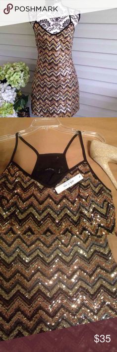 NWT Ark & Co Gold Sequin Chevron Dress New with tags. Chevron sequin pattern. Lined. Ark & co. Size small. No flaws. Ark & Co Dresses Mini