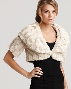 Aqua Faux Fur Shrug | Bloomingdale's (on sale for $30)