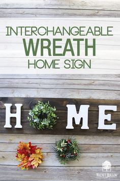 Make your own Interchangeable Wreath Home Sign. Change the wreath out for each season or holiday. signs Make your own Interchangeable Wreath Home Sign Home Design, Interchangeable Wreath, Wood Crafts, Diy Crafts, Diy Wood, Holiday Crafts, Holiday Decor, Diy Christmas, Holiday Ideas