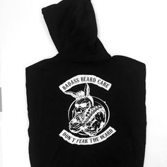 """Badass Beard Care - Badass Brand Pull-over Hoodie, $39.99 (https://badassbeardcare.com/badass-brand-pull-over-hoodie/) Our Badass Brand Pull-over Hoodie with """"Don't Fear The Beard"""" on the chest and a stylized version of our logo and rockers above and below on the back. Sizes: Small-4X"""