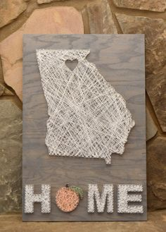 Custom Wood Georgia HOME Sign String Art Home Decor von hwstringart