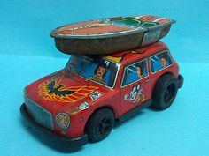 RARE Marx Tin Litho Friction Mini Cooper Mighty Mouse Family Boat
