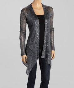 Look what I found on #zulily! Charcoal Sequin Open Cardigan #zulilyfinds