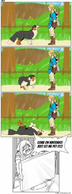 Pets Care - zelda breath of the wild funny dog The way cats and dogs eat is related to their animal behavior and their different domestication process. The Legend Of Zelda, Legend Of Zelda Memes, Legend Of Zelda Breath, Video Game Memes, Video Games, Dog Last Day, Funny Dogs, Funny Memes, Meme Meme