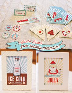 """DIY - Holiday Party Printables - Set includes party flags, party circles (4 designs), 5×7″ signs (2 designs), patterned papers (3 designs), a """"DELICIOUS"""" garland banner, and blank tent cards (2 designs) - Free PDF Printables"""