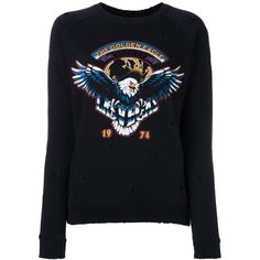 Zoe Karssen distressed effect eagle sweatshirt ($150) ❤ liked on Polyvore featuring tops, hoodies, sweatshirts, black, zoe karssen sweatshirt, destroyed sweatshirt, distressed top, ripped tops and eagles sweatshirt