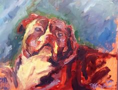 Original oil on canvas painting by Tiffany Aron. Depicts a handsome pit bull dog in an impressionistic style. More of her work can be found on her face book page www.facebook.com/fineartbytiffanyaron