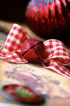 Christmas Gingham ribbon with a jingle bell for the wreath.