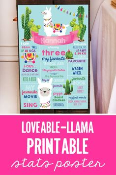 Llama Party Stats Poster! Sooooo cute, an instant download, edit with your fabulously one's details and print for the party! Awesome keepsake too! #llamaparty #statsposters #partyprintables Printable Invitations, Party Printables, Party Invitations, 40th Party Ideas, 50th Party, Llama Birthday, Baby Birthday, Craft Activities For Kids, Crafts For Kids