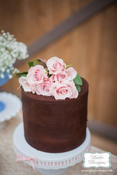 chocolate and dusty pink roses + wedding cake by Dolce Designs in austin
