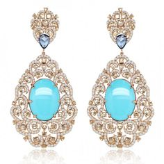 Earrings by Sutra Jewels: Jewelry News, Incredible Jewels, Exquisite Jewelry, Fashion Earrings Pierre Turquoise, International Jewelry, Turquoise Earrings, Gold Earrings, Fantasy Jewelry, Chandelier Earrings, Luxury Jewelry, Jewelry Trends, Gemstone Jewelry