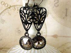 Art Deco Earrings Swarovski Rivoli Earrings Black by adornyou