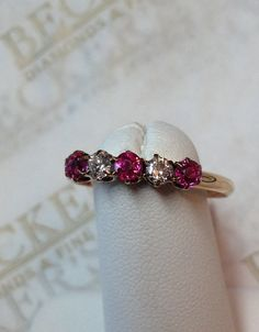 Antique Deco 14k Yellow Gold Ruby and Old by BeckersJewelersCT
