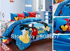 twin full queen king duvet covers cartoon bedding sets blue mickey minnie mouse print boys