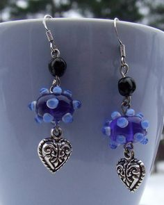 dangling blue glass lampwork bead heart and silver plated french hooks earings