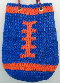 Plarn  Large Florida Gators Blue and Orange by twooleydesigns, for more information: https://www.etsy.com/listing/110378727/plarn-large-florida-gators-blue-and