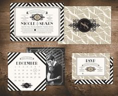 Nouveau Inspired Wedding: Invitation - RSVP - Save the Date - Art Nouveau - Great Gatsby - Art Deco - Black and White - Tan - Striped on Etsy, $90.99